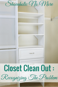 The first step is admitting you have a problem. Love how this blogger knew it was time for a closet clean out! I need to do one as well.